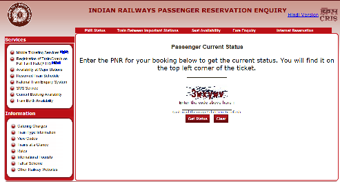 Indian Rail PNR status indianrail.gov.in